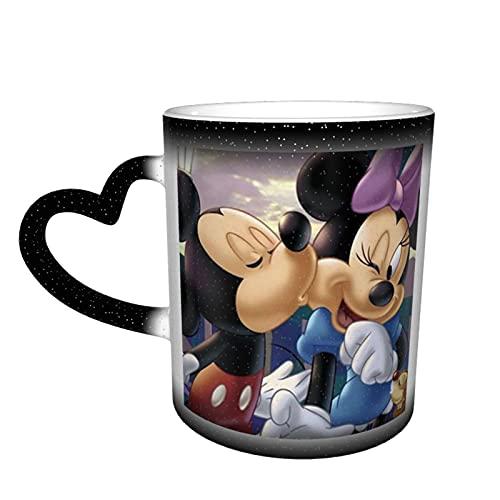 Taza de café con diseño de Mickey Mouse Minnie con dibujos animados, tazas de té de cerámica que cambian de color, novedad para amantes de la familia, amigos, oficina y hogar