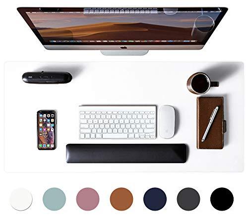 Aothia Schreibtischunterlage,PU-Leder-Schreibtischmatte,Mauspad,rutschfester Schreibtischschutz,wasserdichter Schreibtisch-Schreibblock für Büro und Zuhause(80cm x 40cm, Weiß)