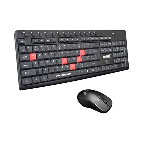 Quantum QHM9600 Wireless Multimedia Keyboard and Mouse Combo for Laptop & Desktop (Black)