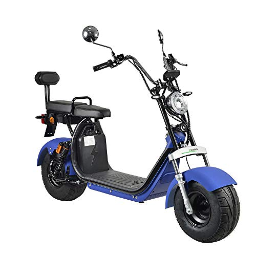 4MOVE Harley Scooter eléctrico con permiso de circulación, batería de litio de 60 V/20 Ah (batería doble), 1200 W, alcance de 90 km, hasta 45 km/h, patinete eléctrico de 2 plazas, patinete eléctrico