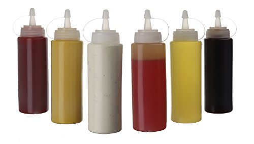 (6pk) 16 oz Plastic Squeeze Squirt Condiment Bottles with Twist On Cap Lids - top dispensers for ketchup mustard mayo hot sauces olive oil - bulk clear bpa free bbq set