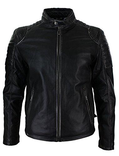 Veste Noire Cuir Hommes - Design Coutures Épaules & Dos - Style Retro