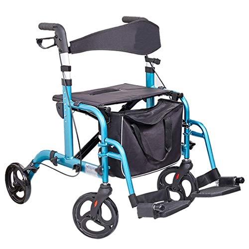 JHDPH3 Einkaufswagen, Walker, Aluminium Faltbare Vier fahrbare Rollator Gehhilfe Sitz mit Rückenlehne und Einkaufskorb, höhenverstellbar, Handbremse, Folding Fußpedal