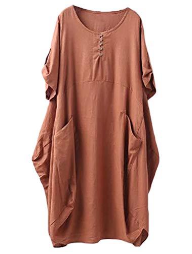 Lavnis Damen Leinen T-Shirt Tunika Kleid Rundhals Kurzarm Midi Kleid Braun 2XL