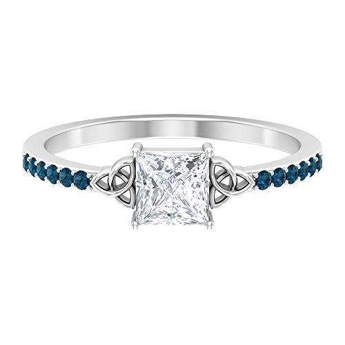 Anillo de diamante solitario de corte princesa, 5 x 5 mm, anillo de diamante HI-SI, anillo de nudo celta dorado, 0,12 quilates anillo de topacio azul Londres (calidad AAA), 14K Oro blanco, Size:EU 54