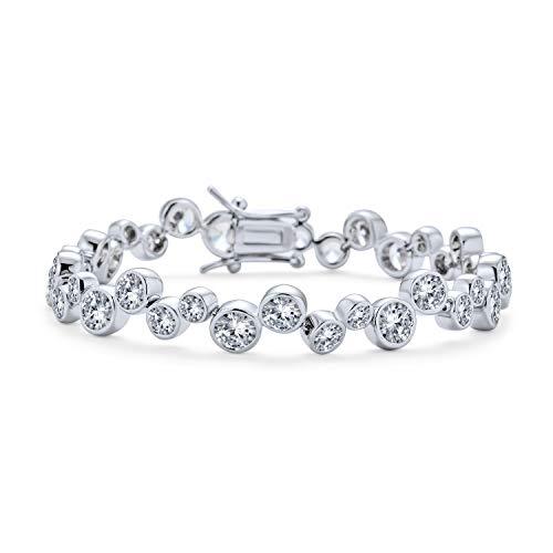 Bling Jewelry Boda Nupcial Prom Burbuja Redonda Zig Zag Cubic Zirconia CZ...