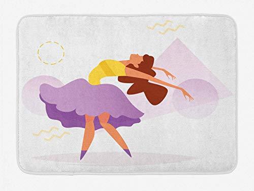 AoLismini Ballerina-Badeteppich, abstrakte Zeichnung der tanzenden Frau mit geometrischen Formen, Plüschbadeteppich mit Rutschfester Unterstützung, Lachs, Senf, pinkfarbener Mammutbaum