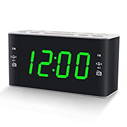 Digital AM FM Alarm Clock Radio for Bedroom with Dual Alarms, Preset, Sleep Timer and Dimmer, 4.5 Green LED Display, Plug-in Powered