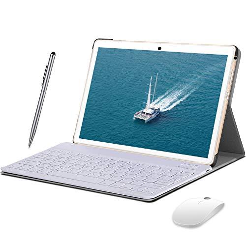 4G Tablet PC 10 Pollici con Android 10.0, 4GB+64GB - Certificato Google GMS Doppia SIM con WiFi| 8000mAh| Bluetooth| GPS| Fotocamera 8+5 MP, Corpo in Metallo con Tastiera e Mouse