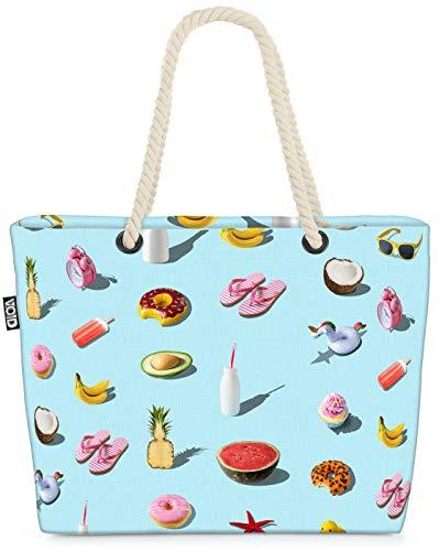 VOID Einhorn Melone Ente Strandtasche Shopper 58x38x16cm 23L XXL Einkaufstasche Tasche Reisetasche Beach Bag