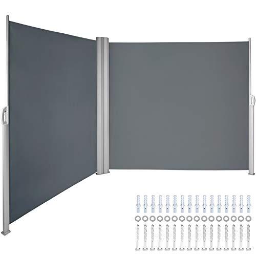 VEVOR Terrassen Windschutz 180 x 600 cm schwarz Rollo Seitenmarkise ausziehbar für den privaten oder gewerblichen Gebrauch