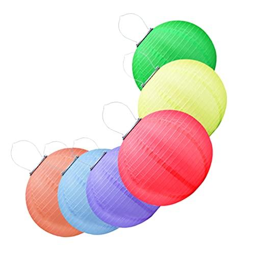 Beaupretty 6 lanternas solares chinesas para pendurar ao ar livre impermeáveis jardim luzes LED para decoração de festa de casamento, aniversário, Halloween, 30 cm (vermelho + roxo + laranja + verde + azul + amarelo)
