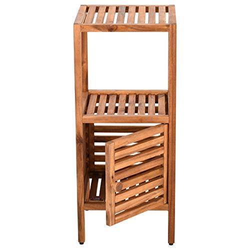 Badregal/Standregal aus Holz, schmal, Eckregal mit 2 Böden/Ablagefächern und Tür für Badezimmer,...