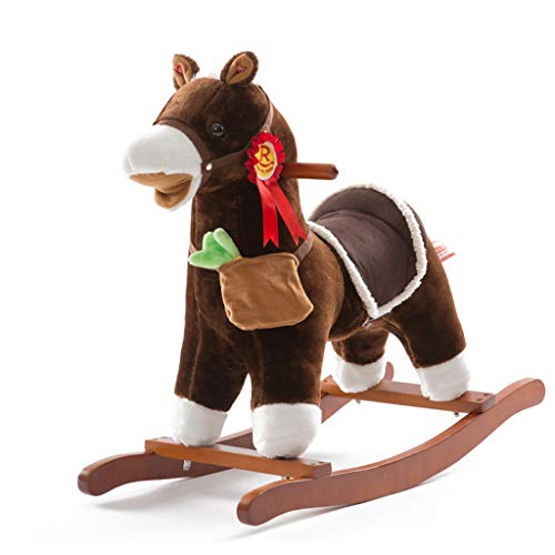 Cheval à bascule Animaux à Bascule Cheval en Bois pour bébé bébé Maternelle Musique Shake Horse Jouet Cadeau d'anniversaire Charge 50 KG 1-6 Ans (Couleur : Brown)
