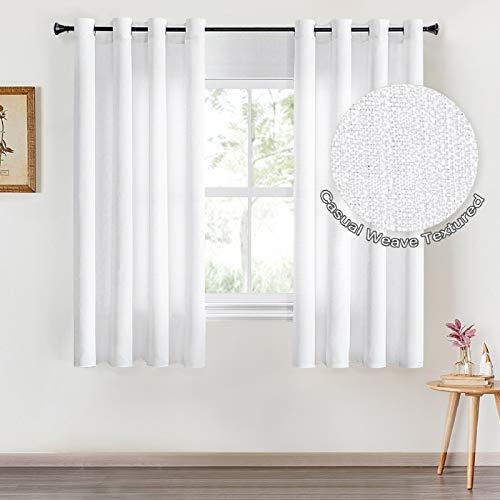 Topfinel Voile Vorhänge mit Ösen Halbtransparent Gardine Leinenstruktur Garn Muster Fensterschal für Zimmer, Büro, 2er Set 145x140 (HxB) Weiß