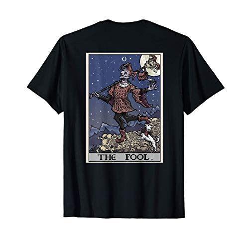The Fool Tarot Card Halloween Gothic Court Jester Back Print T-Shirt