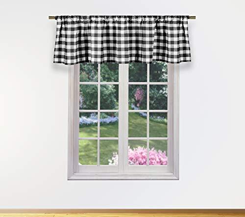 Home Maison Kingston - Juego de Cenefa de Cortina a Cuadros para Ventana de Cocina pequeña, cafetería, baño, lavandería o recámara, 58 x 15 Pulgadas, Color Negro