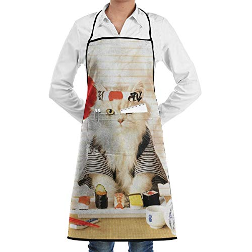 Sushi Cat Japanese Cute Funny Kitten Grill Aprons Kitchen Chef Bib - Professional for BBQ Baking Cooking for Men Women Pockets Personalized Aprons
