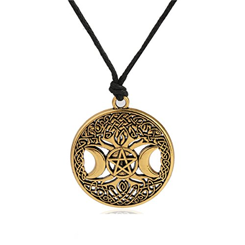 Ztuo Antique Gold Triple Moon Goddess Tree of Life Pendant Celtic Knot Pentagram Star Moon Wicca Necklace