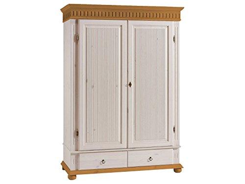 möbelando Kleiderschrank Schrank Massivholzschrank Schlafzimmerschrank Silvana I 218 cm weiß/antik