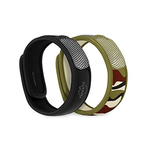 PARA'KITO Mosquito Repellent Pack - 2 Wristbands | 2 Refills (Black + Jungle)