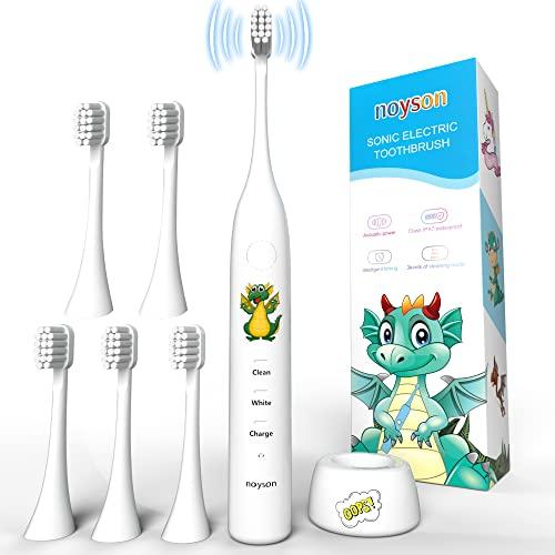 Elektrische zahnbürste kinder ab 0-4 jahr, wiederaufladbare Schallzahnbürste mit 2 Minuten Timer, 30er Jahre Erinnerung, 6 Ersatzköpfe(Weiß)