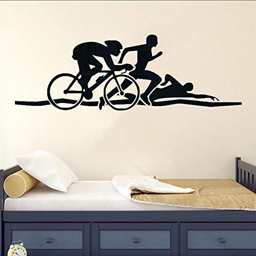 Atletas de triatlón pegatina de pared bicicleta natación correr deportes vinilo calcomanías de pared salud Fitness murales deportista decoración Interior del hogar 126X42Cm