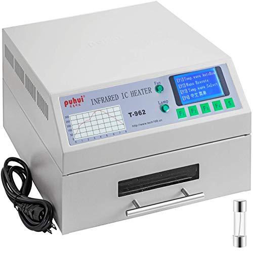 Horno de reflujo T962 220V Máquina de soldadura por reflujo 800W 180x235 mm SMD SMT BGA Máquina de soldadura de calentador infrarrojo automático profesional con eficiencia de enfriamiento de chimenea