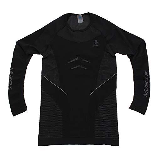 Odlo Herren Shirt SUW TOP Crew Neck l/s Performance Muscle, Black - Platinum Grey, S, 312492