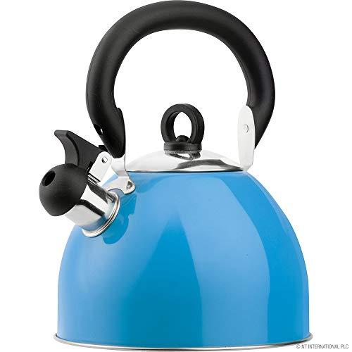 Hervidor silbador de acero inoxidable de 2,5 L, para cocina, cocina, cocina, esencial con asas de tacto frío, tapa extraíble (azul)