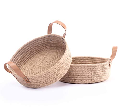 "2pack Cotton Rope Baskets - 10"" x 3"" Small Woven Rope Tray Baskets for Home Decor Storage Organizer - Desk Basket Bowl for Fruits, Sewing Accessories, Craft Items, Keys,Toys (Jute)"