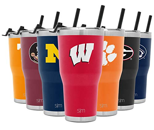 Simple Modern NCAA Wisconsin Badgers 30oz Tumbler with Flip Lid and Straw Insulated Stainless Steel Travel Mug Cruiser