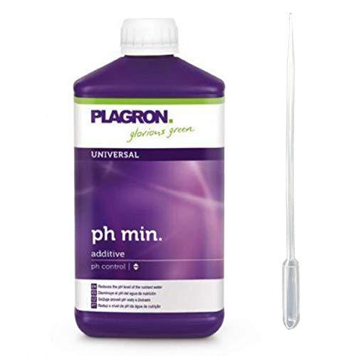 Plagron pH- Minus 1-Liter + 3-ml Pipette pH-Wert Senker Grow Hydro-Anbau Dünger Flüssig zum Regulieren