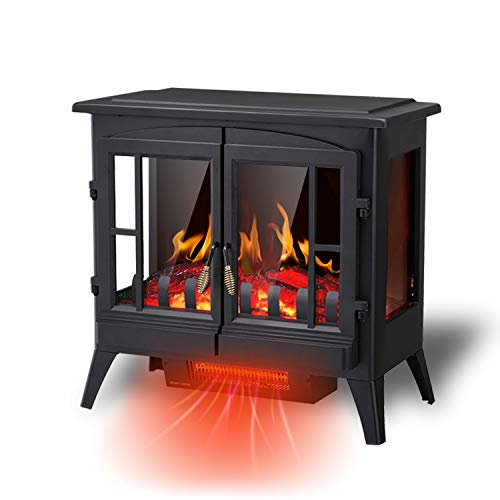 R.W.FLAME Electric Fireplace Infrared Stove Heater, 23' Freestanding Fireplace Heater, 3D Realistic Flame Effects, Adjustable Brightness and Heating Mode, Overheating Safe Design, 1000W/1500W, Black