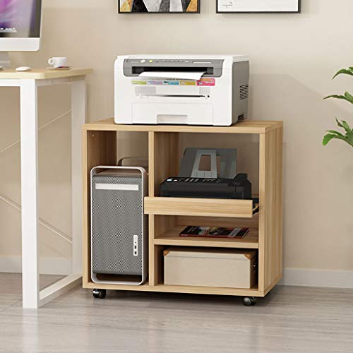 Home Printer Stands Wooden Printer Rack Household Removable Storage Rack File Books and Magazines Desktop Computer CPU Case Storage Rack Office Side Cabinet Rolling Printer Stand ( Color : Natural )