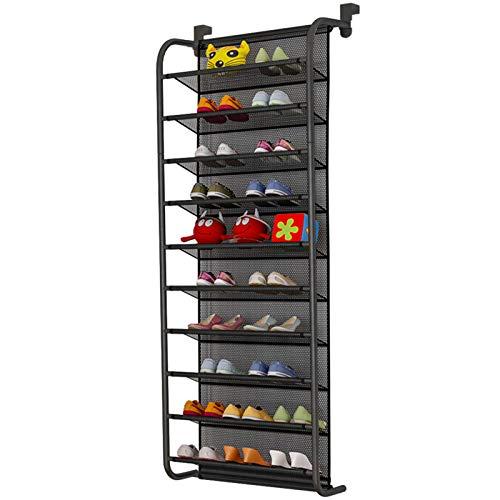 TZAMLI Zapatero de 10 niveles sobre la puerta, organizador de zapatos, gancho de metal fuerte para Closet Pantry (negro, 56 x 21 x 151 cm)