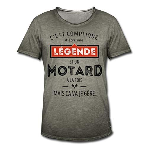 Spreadshirt Légende Et Motard À La Fois T-Shirt Vintage Homme, XL, Vintage Kaki
