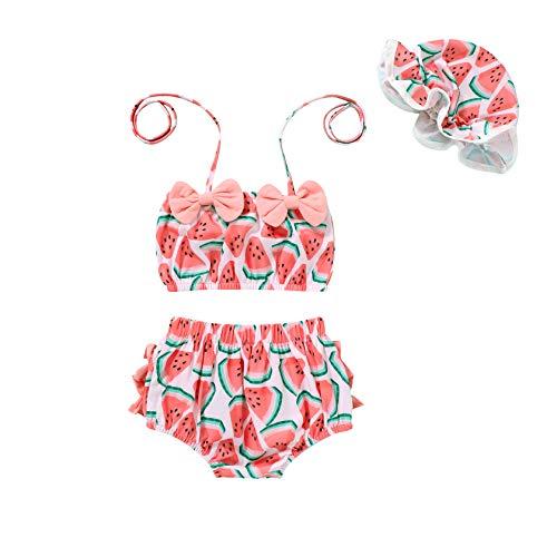 Tiny Cutey Infant Baby Girl Bikini Swimsuit Sunflower 2 Piece Bathing Suit Halter Top Bikini Bottoms Swimming Suit (Pink-Watermelon, 6-12M)