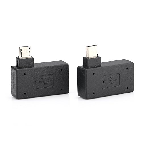 1Pair High Speed USB 2.0 Left 90 Right Angle Female to Male Micro OTG Adapter with Power Supply Port for Android, Windows and Other Systems,Support The OTG Mobile Phone or Tablet Charging