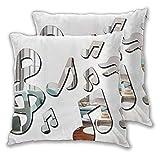 LOSUMIGE 2 Pack Funda de Almohada Nota Musical Moderna de Espejo acrílico Lino Suave Cuadrado Sofá Cama Decoración Hogar para Cojín 60cm x 60cm