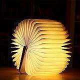 mmtx lampada a libro a led in legno decorazione, lampada da notte pieghevole per libri con lampada tavolo magnetica ricaricabile scrivania per regalo di natale, regalo di san valentine per la mamma