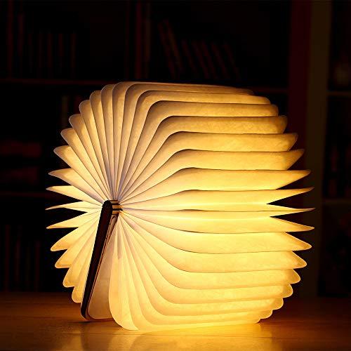 MMTX Led Buchlampe aus Holz, Faltbare Buch Licht Geschenk mit magnetischer USB nachtlicht wiederaufladbarer Schreibtisch Tischlampe für Weihnachts dekor Muttertag Geschenk