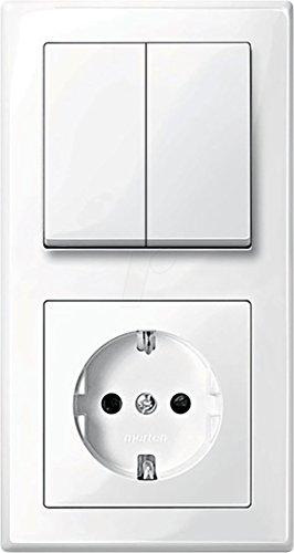 MERTEN M-SMART polarweiß glänzend (1x Steckdose, 1x Serienschalter, 1x 2f Rahmen, 1x Wippe-Serie)