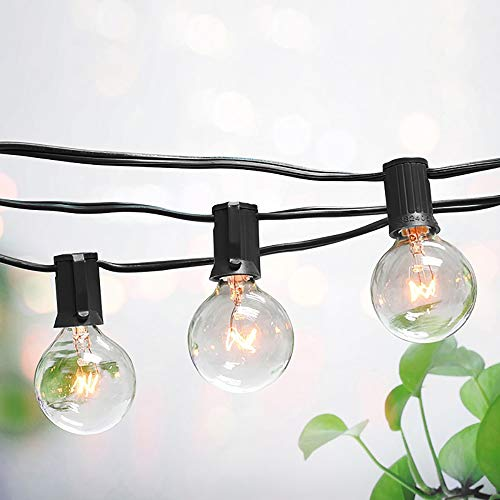 Kwaiffeo 50Ft Outdoor Patio String Lights Connectable Globe String Lights with 54 Clear Bulbs, UL Listed Backyard Lights for Indoor Commercial Decor, 50 Hanging Sockets, E12 Base, 5W Bulb, Black