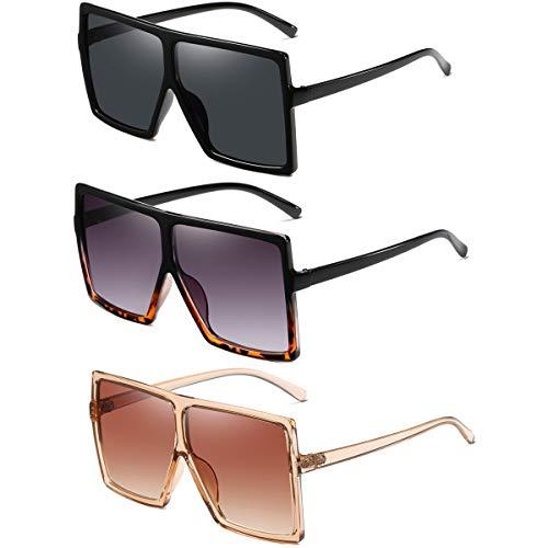 HILBALM Sunglasses (3 packs)for Women Men Retro Aviator Square Goggle Classic Alloy Frame glasses ((3 Pack) black/Leopard/orange)