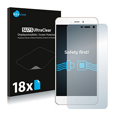 Savvies 18x Schutzfolie kompatibel mit Xiaomi Redmi 4A Bildschirmschutz-Folie Ultra-transparent
