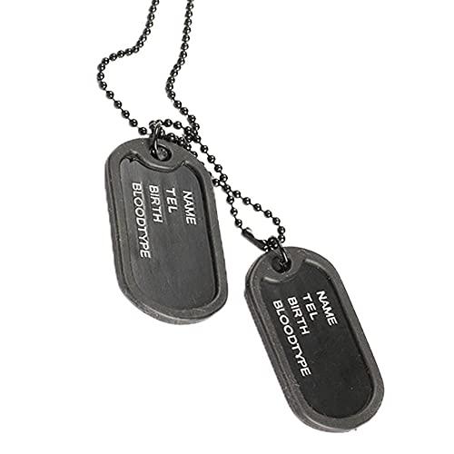 Hombre de doble placas colgante suéter collar cadena militar etiqueta del ejército