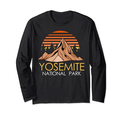 Vintage Retro Yosemite National Park Women Men Hiking TShirt Manga Larga