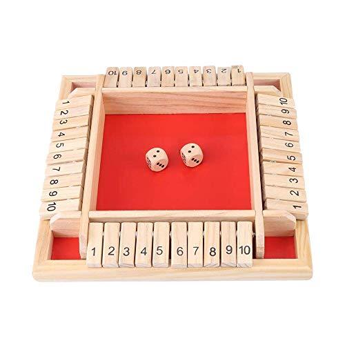 Cierra la Caja Juego, Shut The Box Juego de Mesa de Madera, Flop Digital de Tablero Numérico de Madera para Niños, para Juegos Familiares para Padres e Hijos Fiesta, Juguetes Educativos (Rojo)