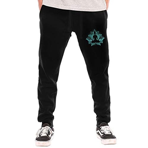 HJRKMX Buddha Chakra Meditation Men's Sweatpants Basic Jogger Sweatpants Black